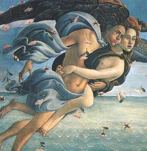 O Nascimento de Vênus (Botticelli) - Detalhe da obra. Carícia